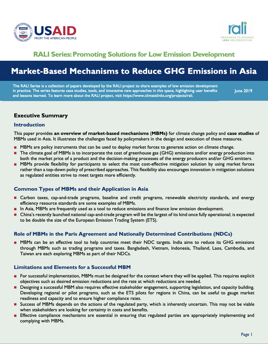 Market-Based Mechanisms to Reduce GHG Emissions in Asia | Global