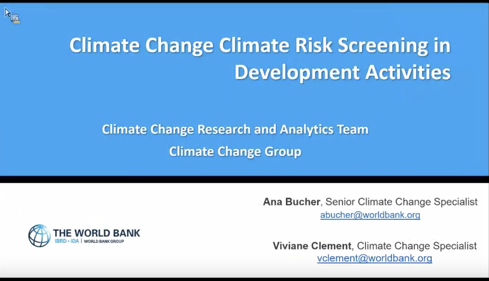 Climate Change Risk Screening in Development Activities screenshot