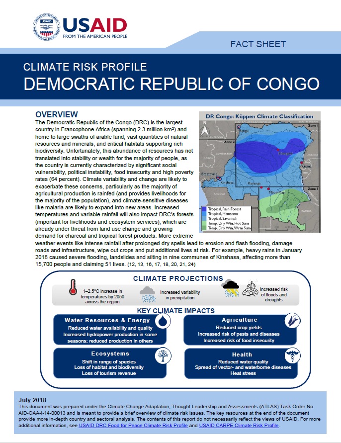 Climate Risk Profile: Democratic Republic of Congo