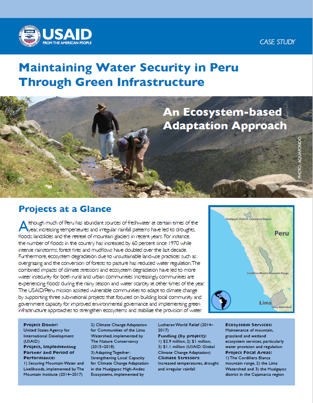 Maintaining Water Security in Peru Through Green Infrastructure