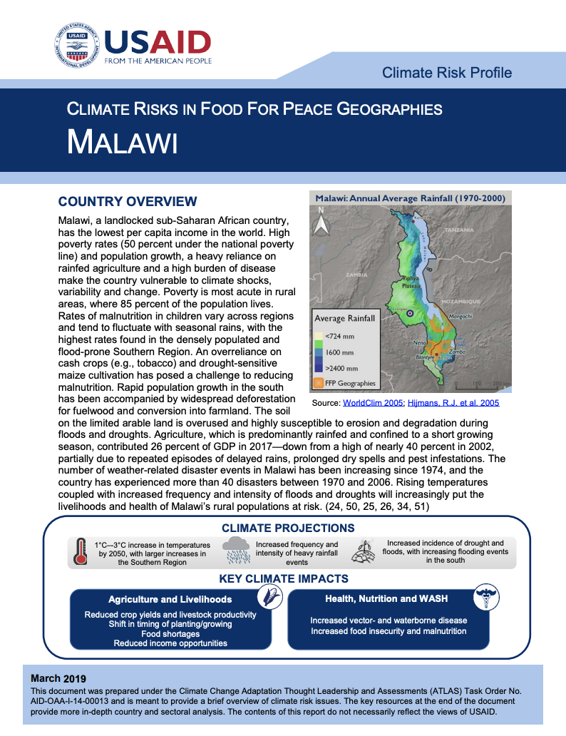 Climate Risks in Food for Peace Geographies: Malawi | Global