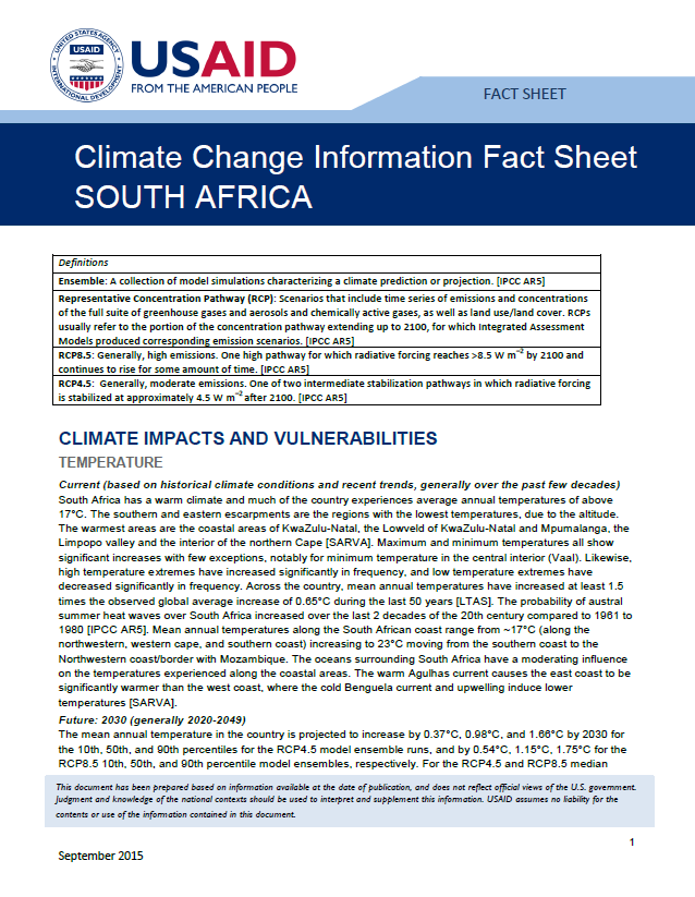 Climate Information Factsheet: South Africa