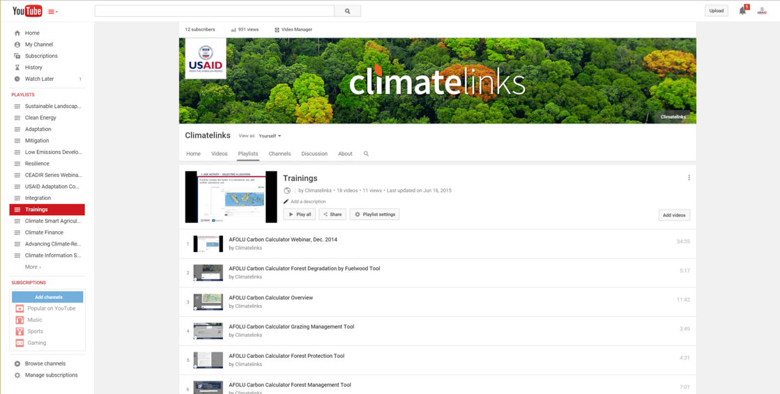 ClimateLinks YouTube Training Playlist