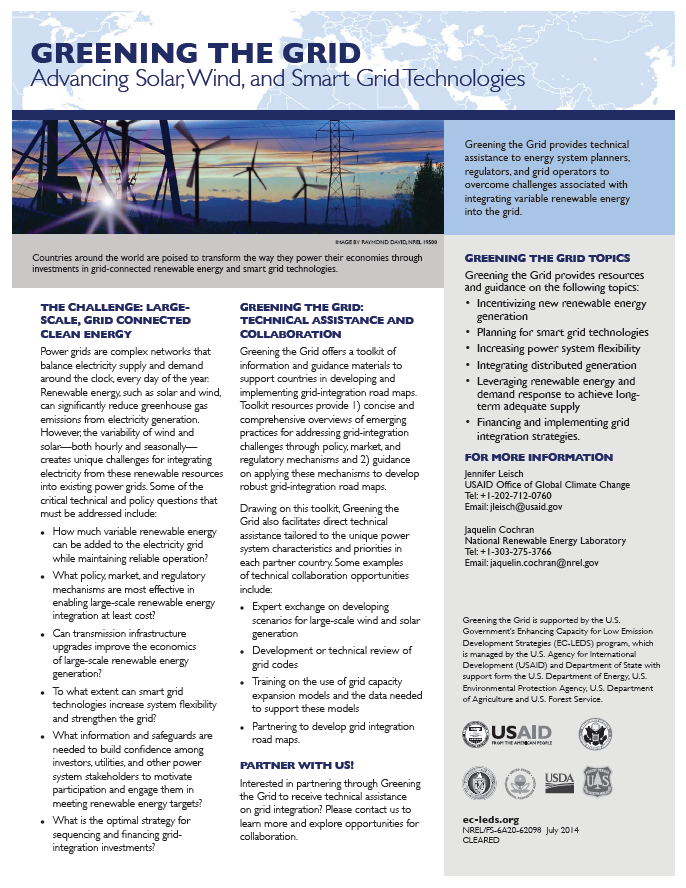 Fact Sheet: Greening the Grid (GtG) | Global Climate Change