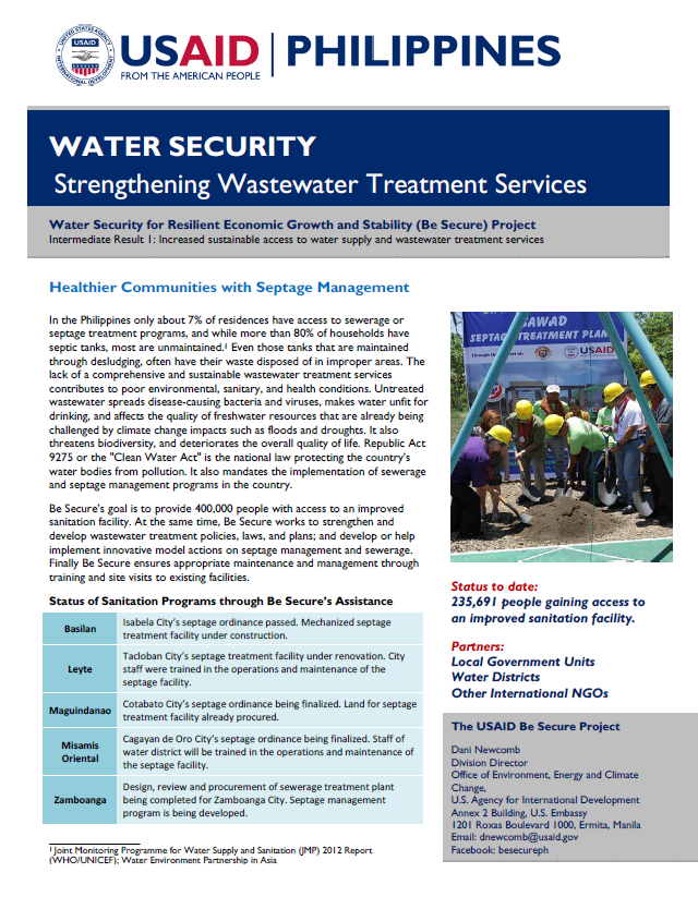 Water Security: Strengthening Wastewater Treatment Services