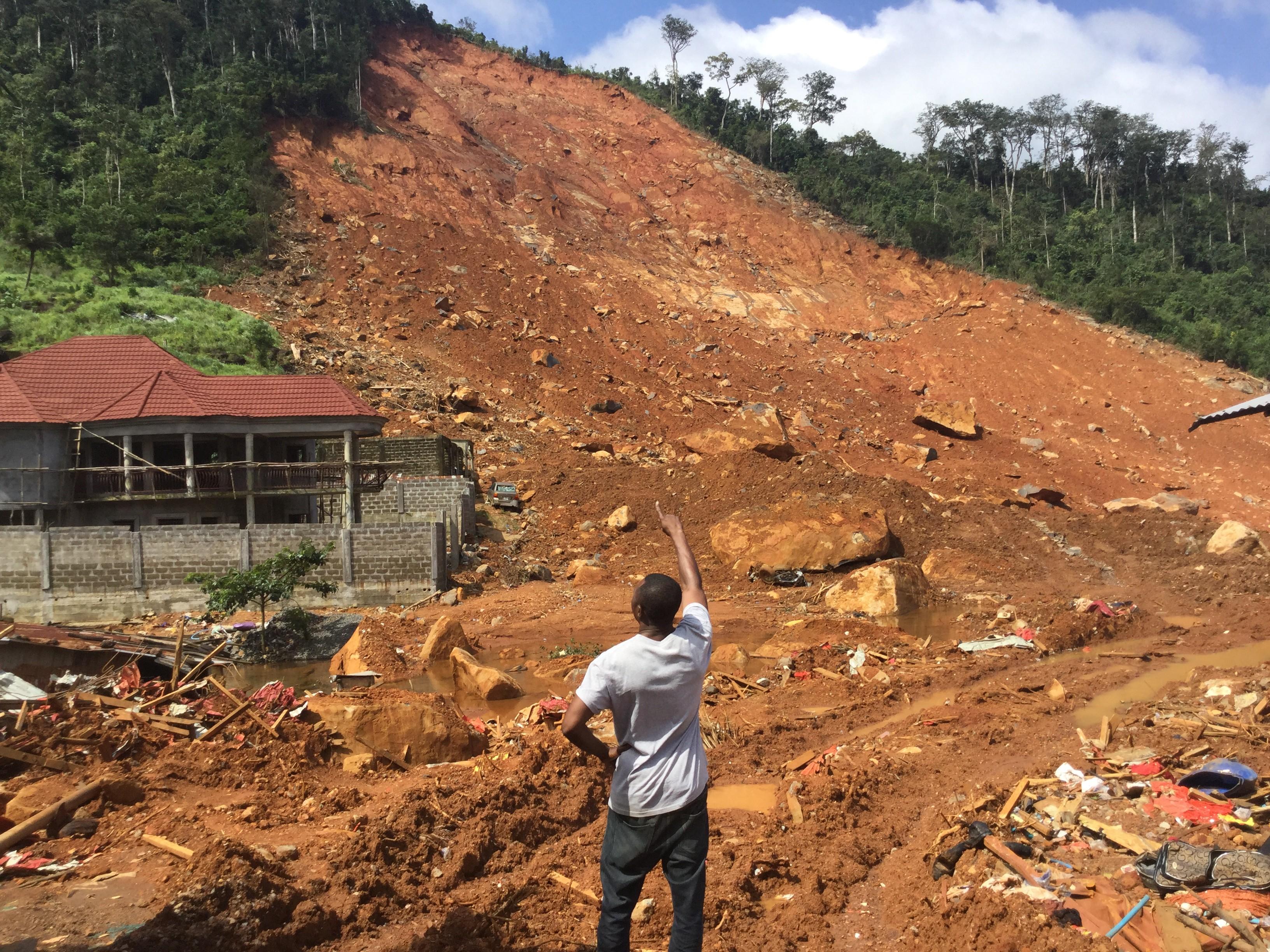 A mudslide devastates the Regent Community in Freetown, Sierra Leone.