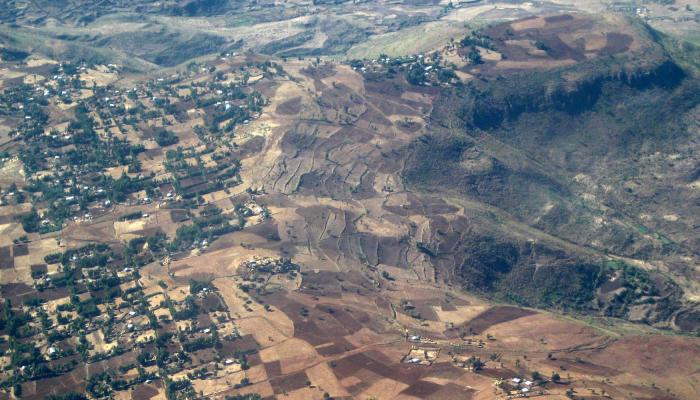 Aerial shot of a rural landscape in Ethiopia