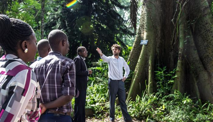 A man standing in front of a large tree gestures while speaking to a group of people.