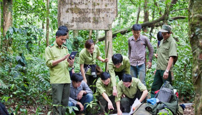 A group of forest rangers in green uniforms stand under an old sign and read a map together.