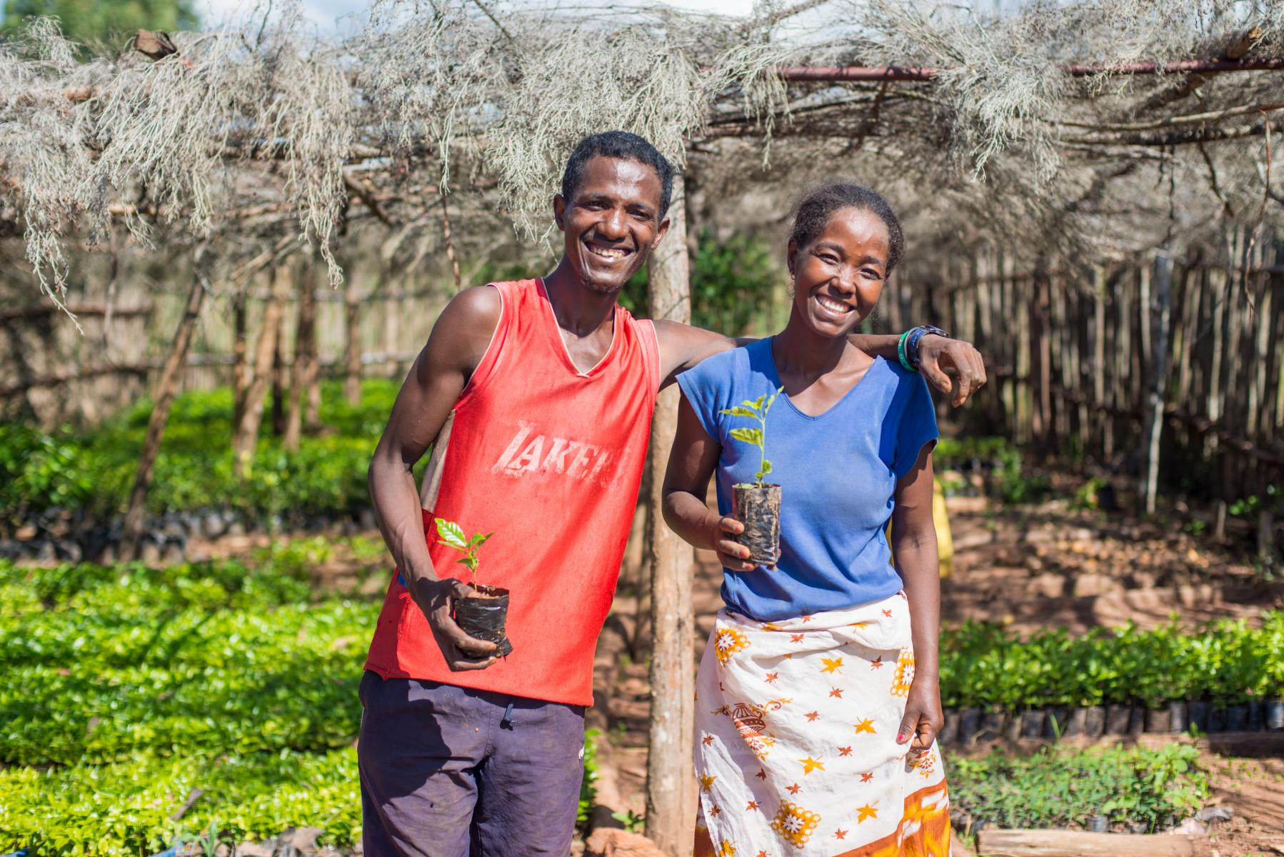 A man and woman pose for the camera in a nursery, smiling and holding small trees.