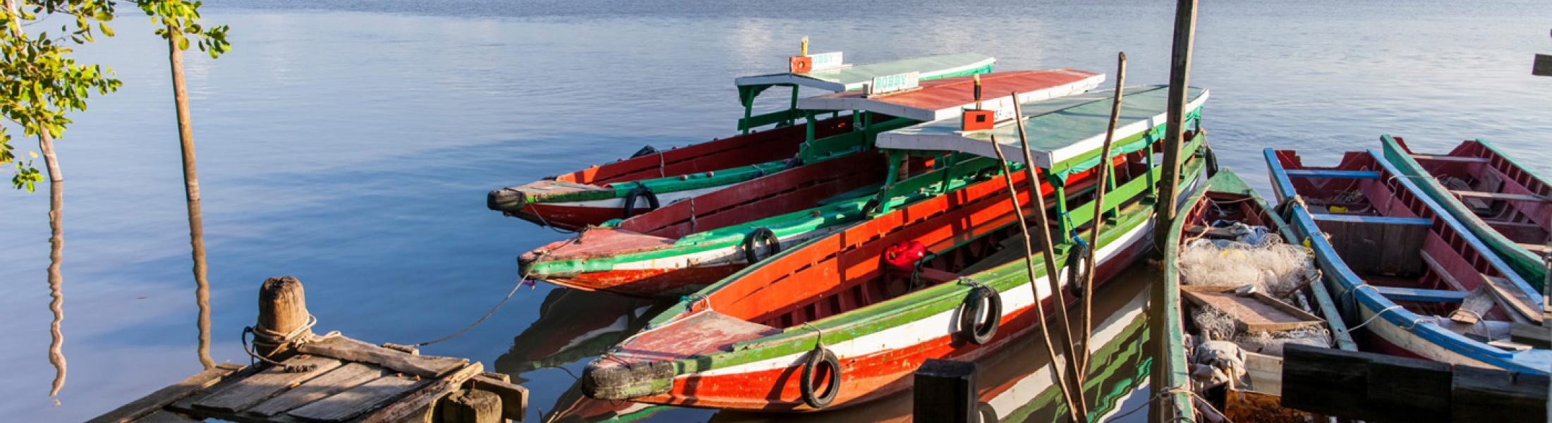 Image of colorful boats tied to a dock on a still body of water.