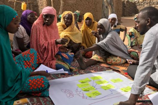 A group of female farmers sit facing a male facilitator with a paper map in between the two groups.