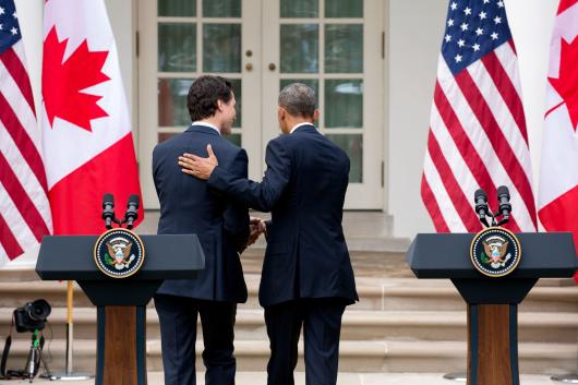 President Obama and Prime Minister Trudeau depart following their press conference 3/10/16.
