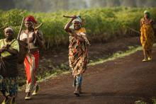 Women walking among their fields in the Nyalungana swamp reclamation project. 13,000 households gained access to newly-available land for cultivation due to this project.