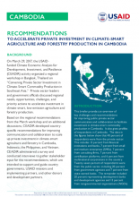 Recommendations to Accelerate Private Investments in Climate-Smart Agriculture and Forestry Production in Cambodia