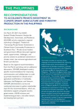 Recommendations to Accelerate Private Investments in Climate-Smart Agriculture and Forestry Production in the Philippines