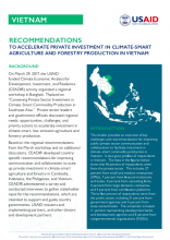 Recommendations to Accelerate Private Investments in Climate-Smart Agriculture and Forestry Production in Vietnam