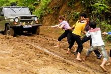 Jeep stuck in mud, Vietnam