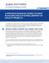 Photo Fact Sheet – A Simplified Financial Model to Assist Municipalities in the Procurement of Solar PV Projects