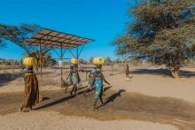 Photo of a solar powered groundwater borehole system in Kenya