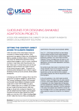Guidelines for Designing Bankable Adaptation Projects