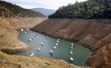 Houseboats float in California's drought-lowered Oroville Lake.