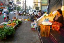 Street market in urban area
