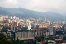Medellin, Colombia skyline with mountains in background