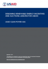 Designing Renewable Energy Incentives and Auctions: Lessons for ASEAN