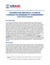Dominican Republic Climate Change Vulnerability Assessment Executive Summary