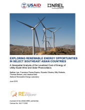 Exploring Renewable Energy Opportunities in Select Southeast Asian Countries: A Geospatial Analysis of the Levelized Cost of Energy of Utility-Scale Wind and Solar Photovoltaics Photo