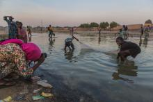 Women washing clothes in a river, Nigeria.