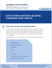 Fact Sheet – South Africa National Building Standards: SANS 10400-XA photo