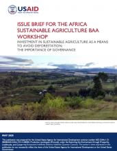 Issue Brief for the Africa Sustainable Agriculture Baa Workshop Investment in Sustainable Agriculture as a Means to Avoid Deforestation: The Importance of Governance photo