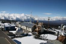 NOAA's Mauna Loa Observatory after a snowstorm.
