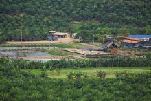 A palm oil mill in Asia, surrounded by oil palm trees.
