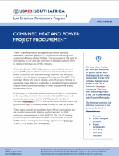 Photo Fact Sheet – Combined Heat and Power: Project Procurement