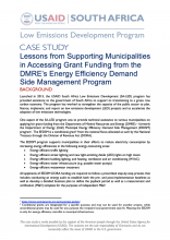 Photo Case Study – Lessons from Supporting Municipalities in Accessing Grant Funding from the DMRE's Energy Efficiency Demand Side Management Program