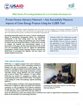 Private Finance Advisory Network - Asia Successfully Measures Impacts of Clean Energy Projects Using the CLEER Tool