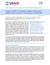 Using the US EPA's Workbook to Support Preparation of National GHG Inventories: The Experience of Bangladesh