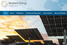 Screenshot of the Resilient Energy Platform homepage.