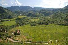 Rural landscape in Hoa Binh Province, Vietnam.