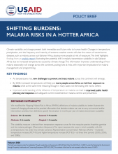 Shifting Burdens: Malaria Risks in a Hotter Africa – Policy Brief photo