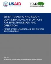 Benefit Sharing and REDD+: Considerations and Options for Effective Design and Operation