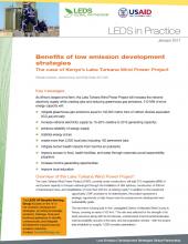 Benefits of LEDS: The case of Kenya's Lake Turkana Wind Power Project