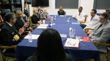 Roundtable discussion at Howard University with President Obama, cabinet officials, doctors, and clean air advocates.