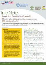 Info Note: Rwanda Dairy Competitiveness Program II: Efficiency gains in dairy production systems decrease GHG emission intensity