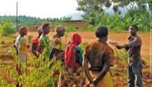 Female farmers participate in a training in Rwanda