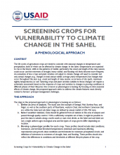 Screening Crops for Vulnerability to Climate Change in the Sahel