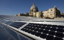 Solar panels the roof of the Nervi Hall at the Vatican.
